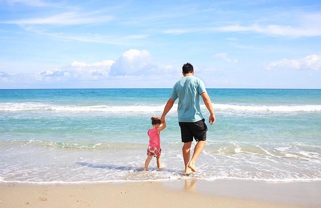muž, dítě, pláž, moře