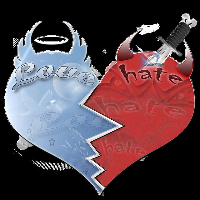 srdce rozdělené na půl, láska – nenávist